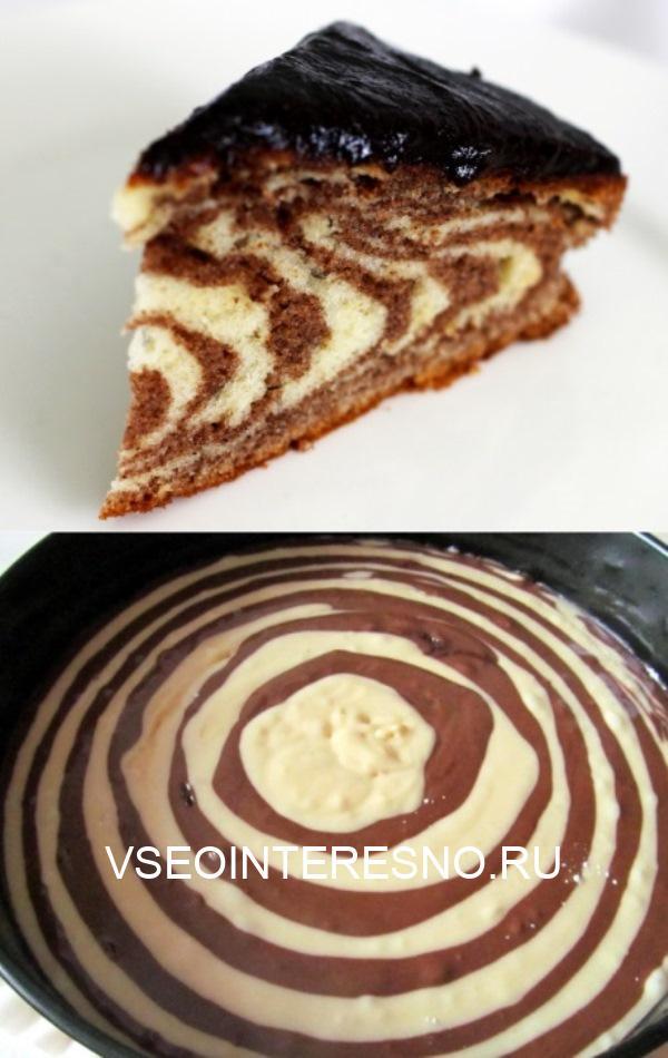 Он просто тает во рту. А все продукты у вас уже есть. Торт «Зебра».