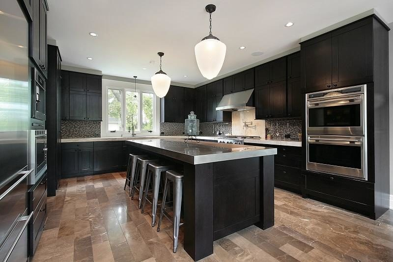 kitchen-with-dark-wood-cabinetry